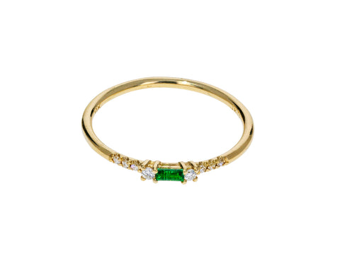 Emerald and Diamond Petite Equilibrium Ring