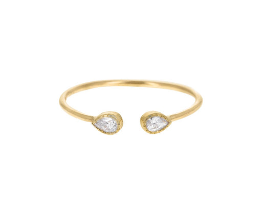 Diamond Pear Cuff Ring