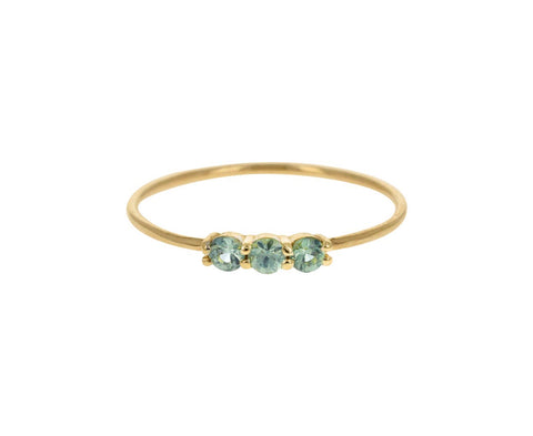 Triple Green Sapphire Ring