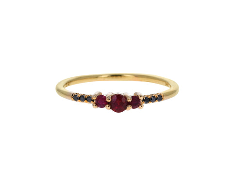 Ruby and Black Diamond Equilibrium Ring
