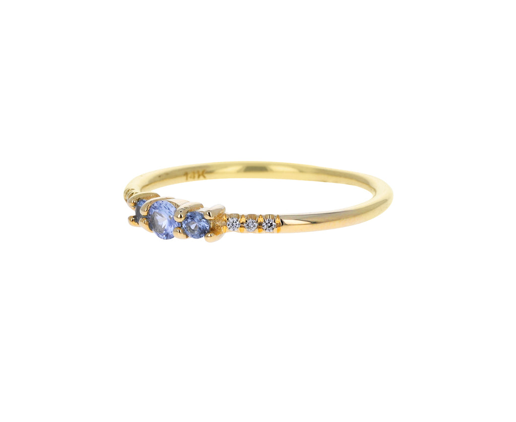 Blue Sapphire and Diamond Equilibrium Trio Ring