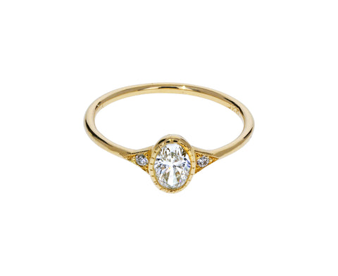 Oval Diamond Deco Ring