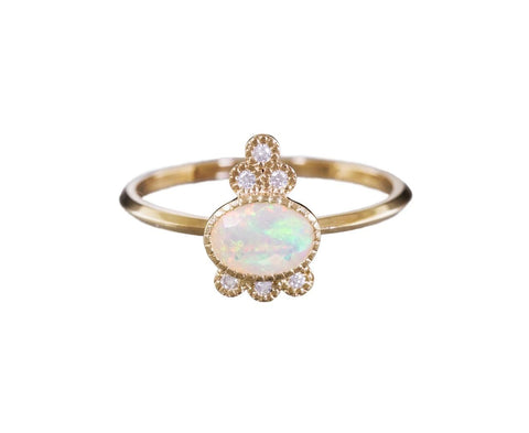 Opal and Diamond Crown Ring zoom 1_jennie_kwon_gold_opal_six_diamond_crown_ring