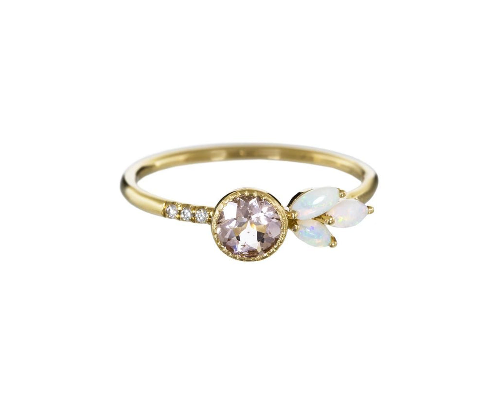 Morganite, Diamond and Opal Leaf Ring - TWISTonline