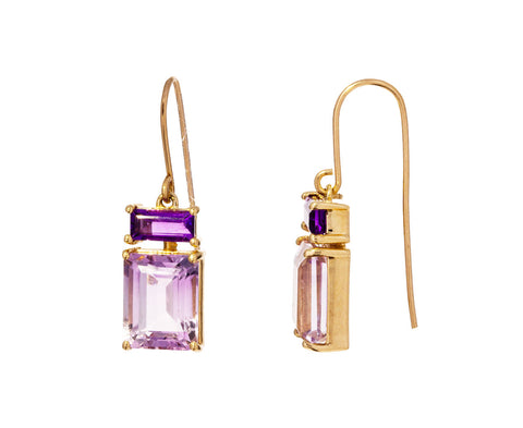 Amethyst and Rose de France Amethyst Earrings