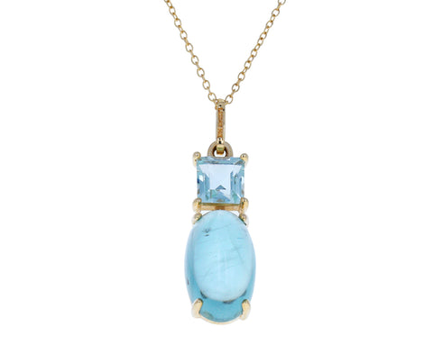 Double Aquamarine Pendant Necklace - TWISTonline