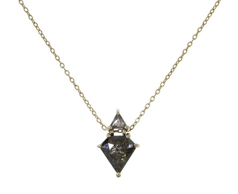 Black and Gray Diamond Duo Necklace - TWISTonline