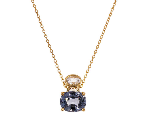 Diamond and Blue Spinel Necklace