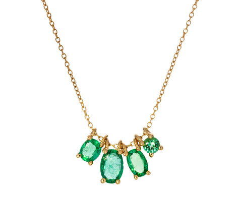 Mixed Shape Emerald Pendant Necklace