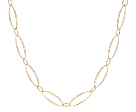Gold Navette Link Chain Necklace
