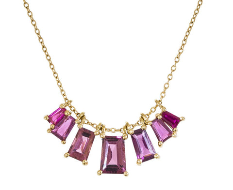 Multi-Gem Tapered Baguette Necklace - TWISTonline