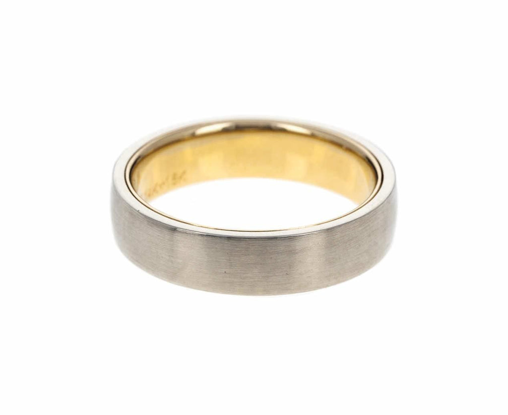 Men's White and Yellow Gold Band zoom 1_nicole_landaw_white_gold_fine_matte_mens_ring