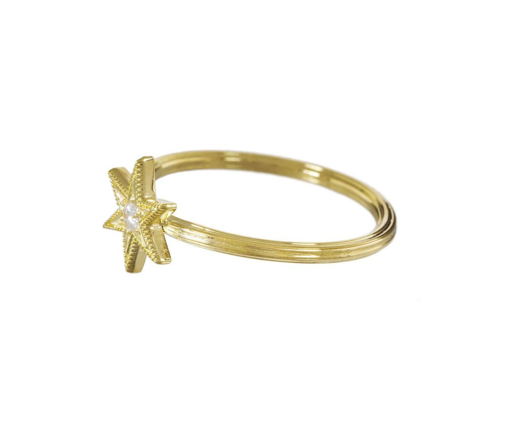 Gold Diamond Six Point Star Stacking Ring - TWISTonline