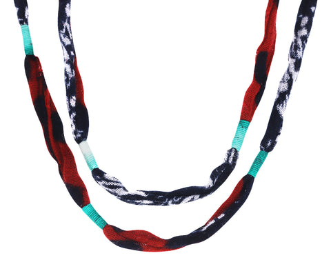 Red and Black Double Loop Woven Chain