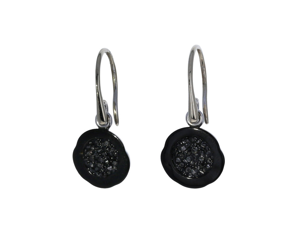 Geode Tahitian Pearl and Black Diamond Earrings