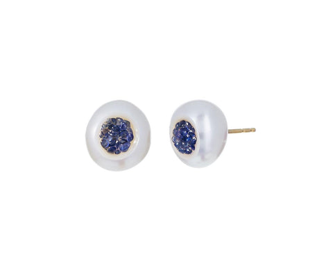 Freshwater Keshi Pearl and Sapphire Piccolo Earrings - TWISTonline