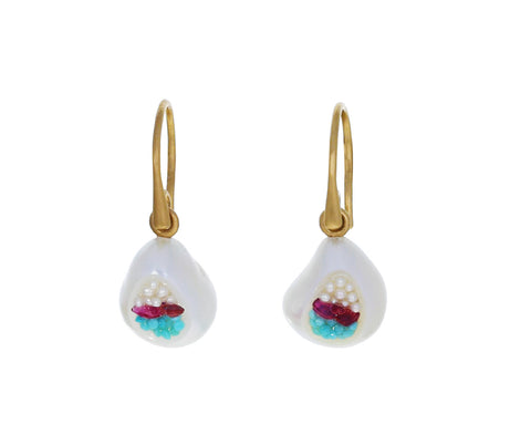 Freshwater Pearl, Turquoise and Ruby Finestrino Earrings - TWISTonline