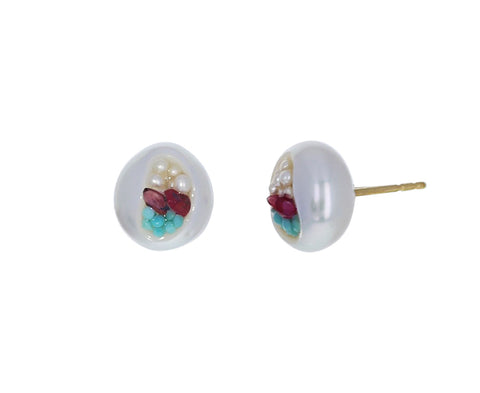 Freshwater Pearl, Turquoise and Ruby Finestrino Stud Earring