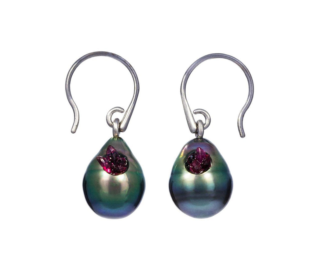 Tahitian Pearl and Ruby Point Earrings - TWISTonline
