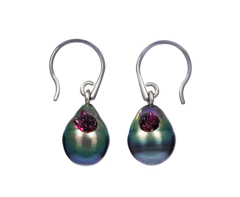 Tahitian Pearl and Ruby Point Earrings zoom 1_little_h_tahitian_pearl_ruby_point_earrings