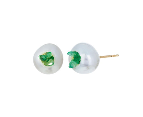 Freshwater Keshi Pearl and Emerald Point Piccolo Earrings - TWISTonline
