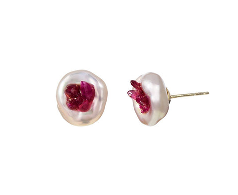 Freshwater Pearl and Ruby Point Earrings zoom 1_little_h_keshi_pearl_ruby_point_stud_earrings