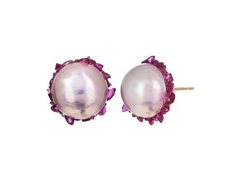 Freshwater Edison Pearl and Ruby Spiral Earrings - TWISTonline