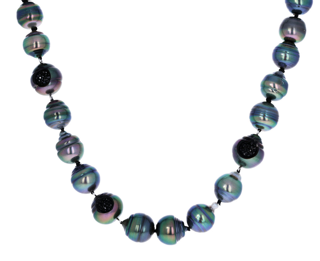 Tahitian Pearl and Black Diamond Finestrino Necklace