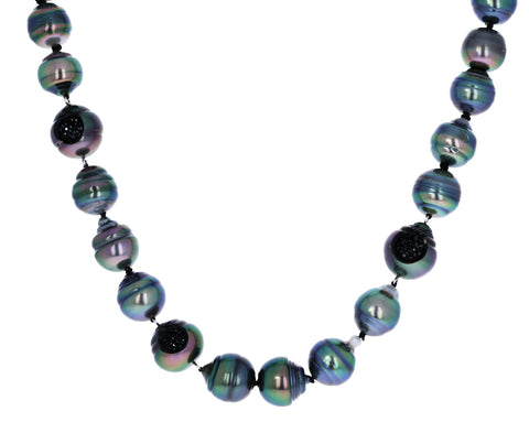 Tahitian Pearl and Black Diamond Finestrino Necklace - TWISTonline