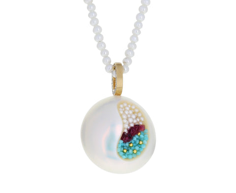 Freshwater Pearl, Turquoise and Ruby Finestrino Pendant Necklace - TWISTonline