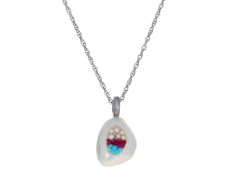 Freshwater Pearl, Turquoise and Ruby Finestrino Necklace - TWISTonline