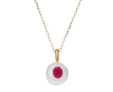 Freshwater Keshi Pearl and Ruby Piccolo Necklace - TWISTonline