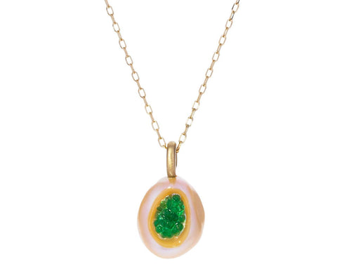 Freshwater Keshi Pearl and Emerald Piccolo Necklace - TWISTonline
