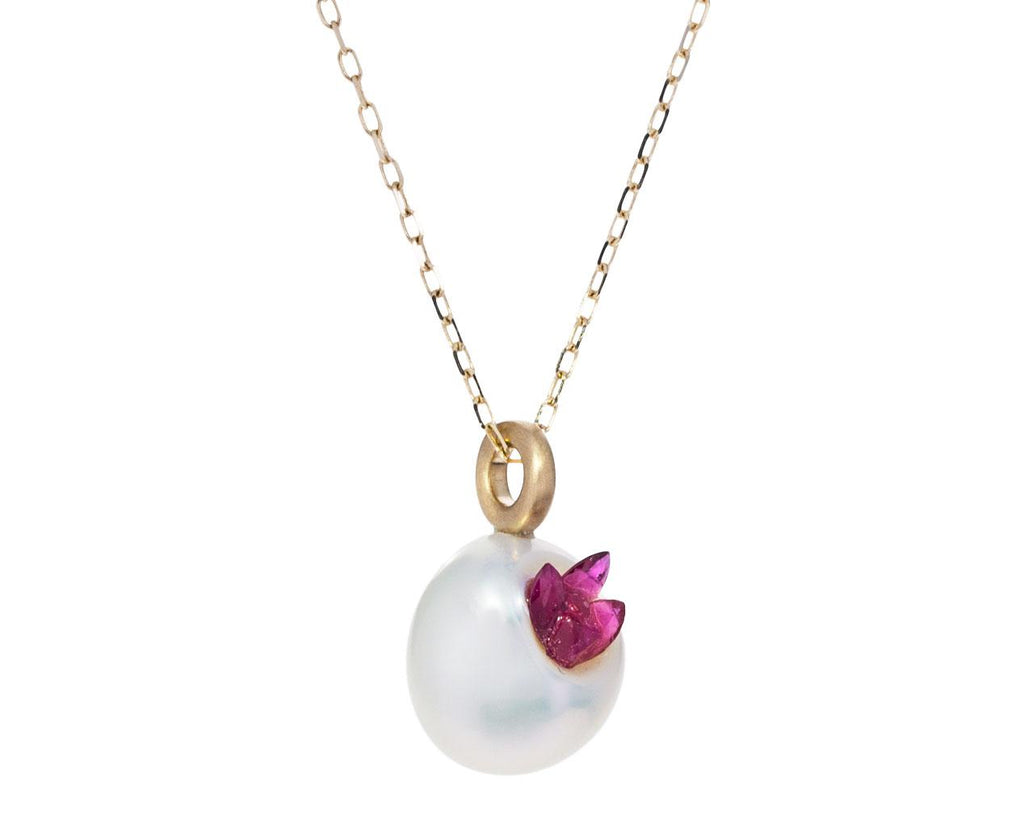 Freshwater Keshi Pearl and Ruby Point Piccolo Necklace - TWISTonline