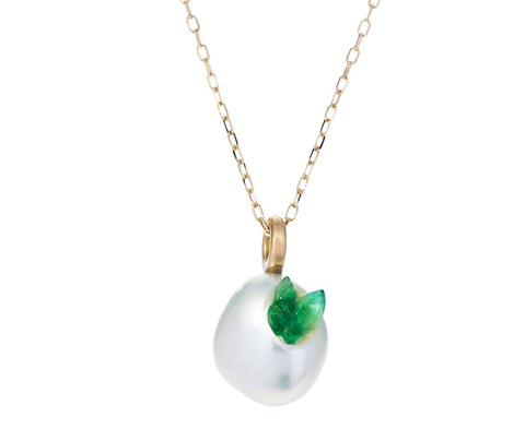 Freshwater Keshi Pearl and Emerald Point Piccolo Necklace zoom 1_little_h_freshwater_pearl_pointed_emerald_neckla