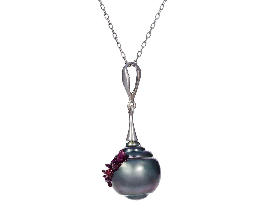 Tahitian Baroque Pearl and Ruby Spiral Necklace - TWISTonline