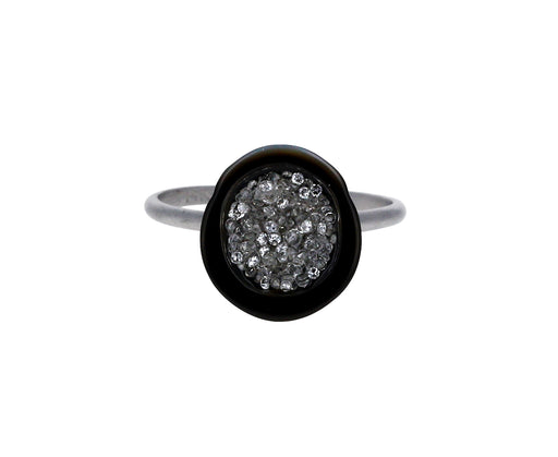Tahitian Pearl and Diamond Geode Ring