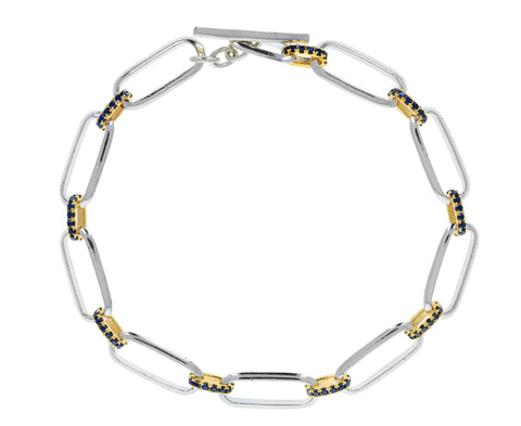 Silver, Gold and Black Diamond Flat Link Bracelet - TWISTonline