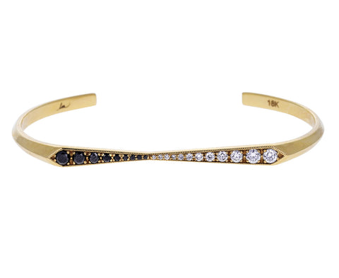 Black and White Diamond Flat Top Cuff Bracelet