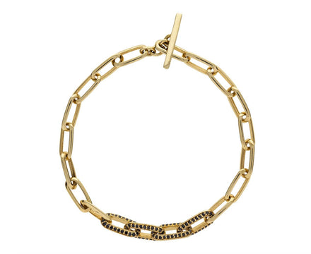 Knife Edge Oval Link Chain Bracelet with Black Diamonds - TWISTonline