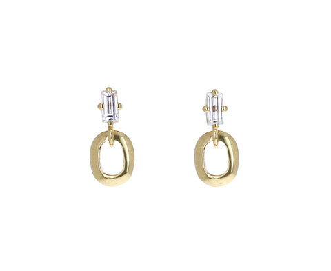 Diamond Extra Small Knife Edge Link Earrings