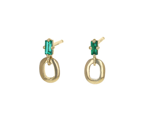 Emerald Small Knife Edge Link Earrings