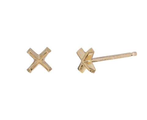 Gold 'x' Mini Post Earrings - TWISTonline