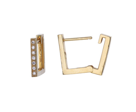 Pavé Diamond Square Hoops