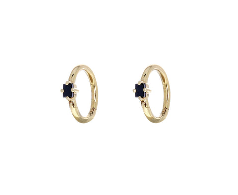 Tiny Black Diamond Baguette Huggie Hoop Earrings