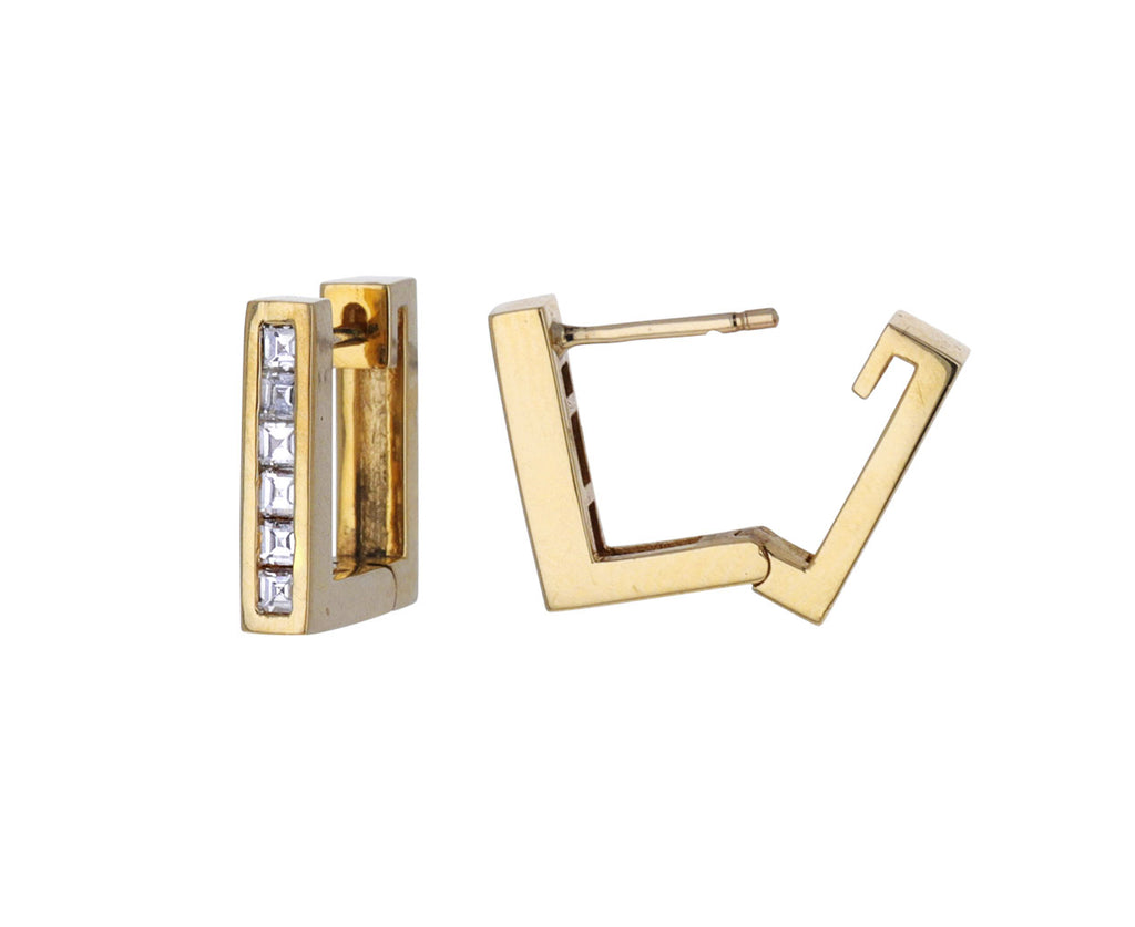 Square Carre Diamond Huggie Hoops