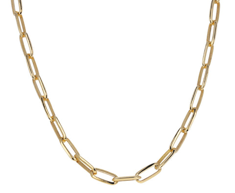 Knife Edge Oval Link Necklace