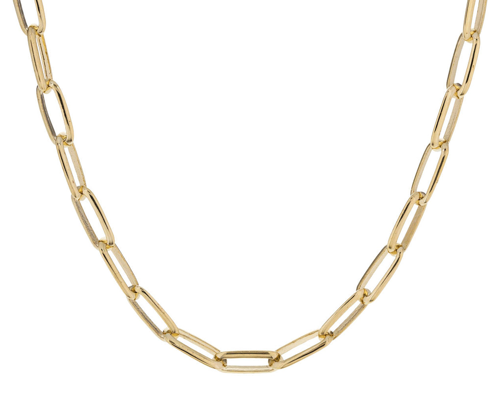 Gold Knife Edge Oval Link Necklace