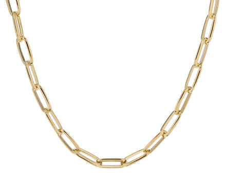 Gold Knife Edge Oval Link Necklace - TWISTonline