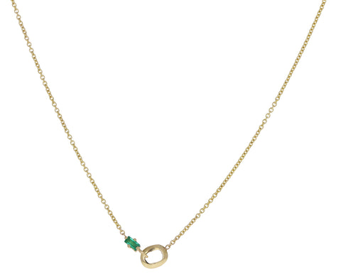 Extra Small Knife Edge Link and Baguette Emerald Necklace